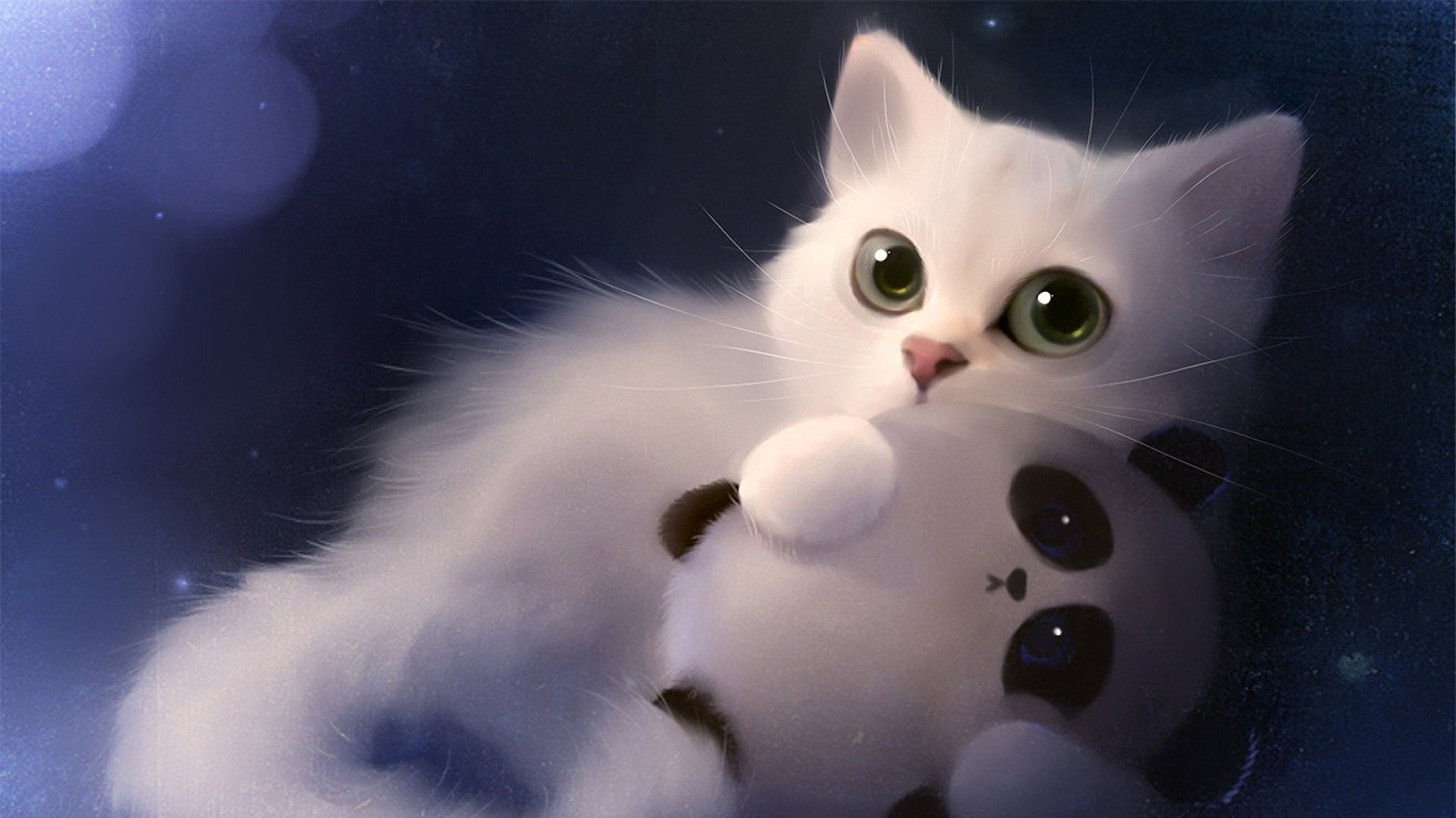 White Kitten Cute Big Eyes Art Cat Wallpaper