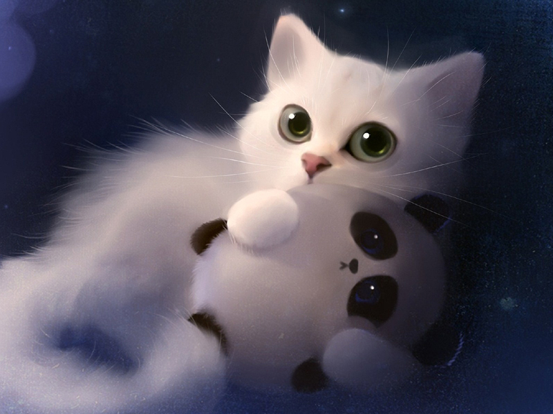 White Kitten Cute Big Eyes Art Cat Wallpaper